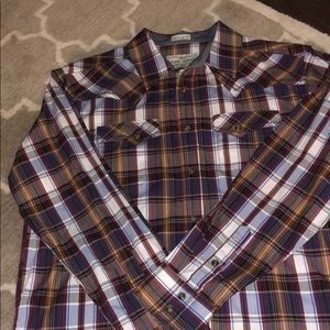 NWOT Western plaid long sleeve button down